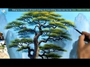 Tranh sơn thủy cây tùng lá kim video trong khóa học dạy vẽ tranh tường