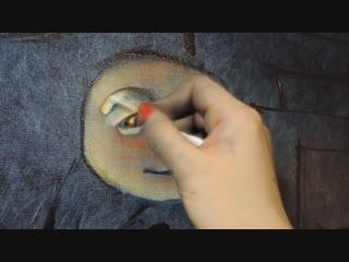 Надежда Ильина пишет автопортрет в своей авторской технике живописи - ТЕХНИКЕ ЖИДКОГО МАСЛА