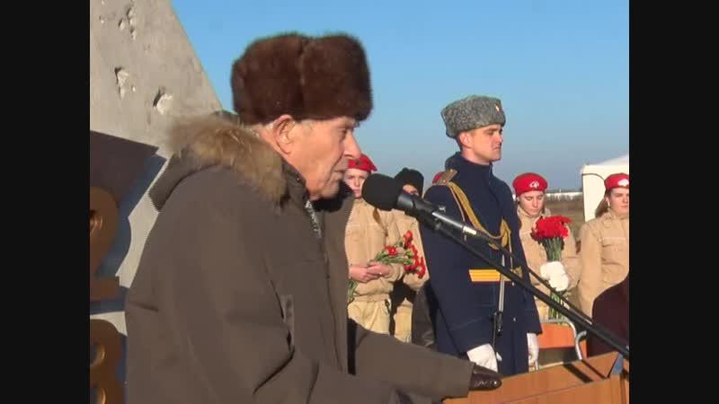 Выступление на закладке камня в мемориальный комплекс ветерана ВОв Евгения Степановича Книги