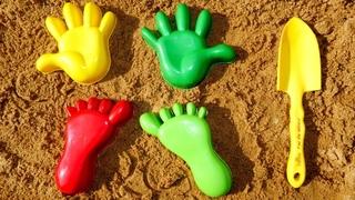 Игры для детей в песочнице. Развивающее видео. Лепим куличики