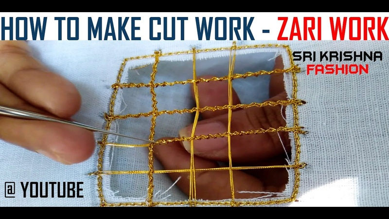 HOW TO MAKE AARI WORK AND ZARI WORK - CUT WORK 2 PART 14 DIY TUTORIAL @ MAGGAM WORK