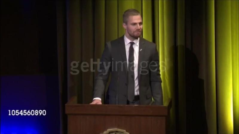 Stephen Amell accepts the Hero Award onstage at Barbara Berlanti Heroes Gala