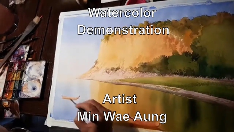 Watercolor Demonstration Artist Min Wae Aung Watercolor Landscape Painting Tutorial (Real Time)