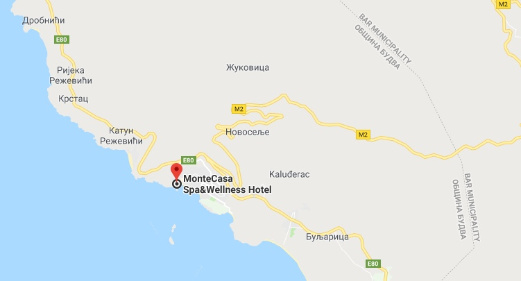 Location of the hotel Monte Casa Spa & Wellness in Petrovac