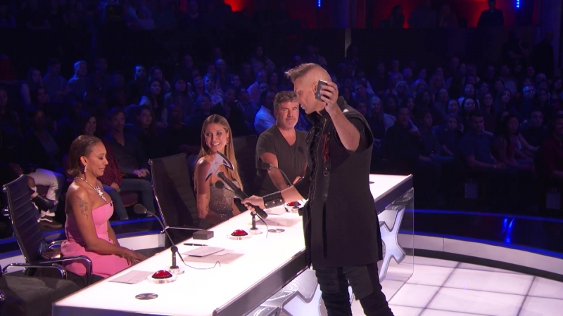 Aaron Crow_ Howie Mandel Nearly Escapes Dangerous Performance - Americas Got Talent 2018