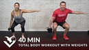 40 Min Total Body Workout with Weights Full Body Strength Workout at Home Dumbbell Training