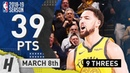 Klay Thompson EPIC Full Highlights Warriors vs Nuggets 2019.03.08 - 39 Pts, 9 Threes!