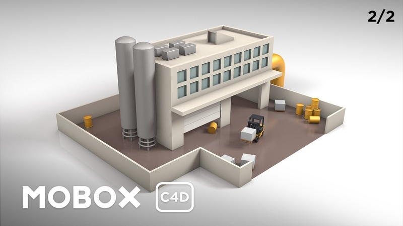 Low Poly Factory Scene (Texture Animation) - Cinema 4D Tutorial