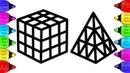 Learn Color Rubik's Cube Coloring and Drawing lerne farbe rubiks würfe ziehe den zauberwürfel