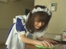 Japanese maid tries to hold but ends with wetting her pants when she is cleaning the table lovely blue uniform