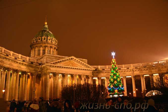 Казанский собор в новогоднюю ночь 2018