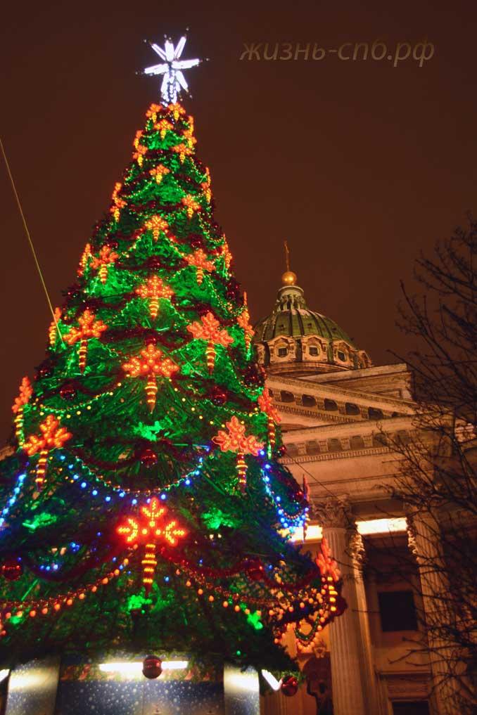Новогодние огни у Казанского собора 01.01.18
