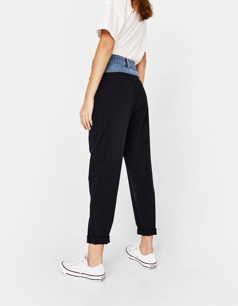 Брюки tailoring с джинсовой деталью