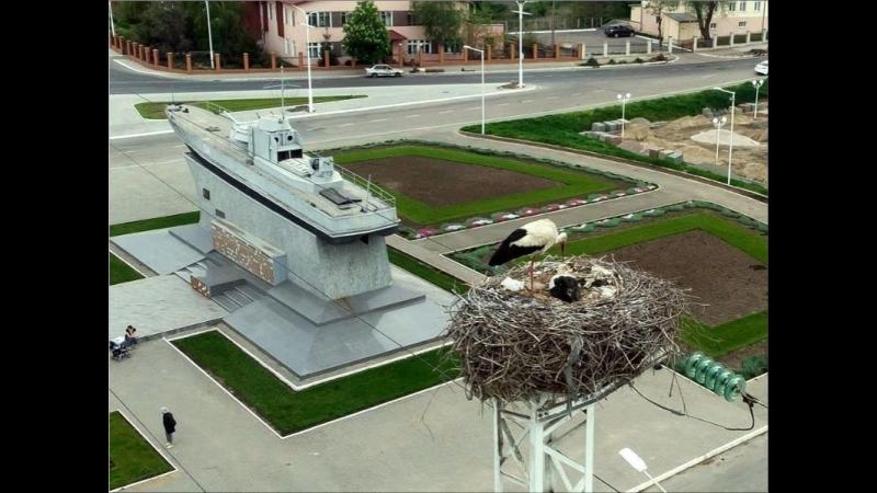 Izmail Storks гнездо аиста возле памятника КДуФ в Измаиле