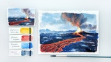 Volcano Eruption. Advanced watercolor tutorial