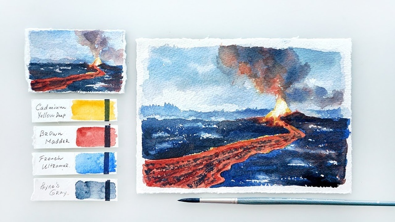 Volcano Eruption. Advanced watercolor tutorial