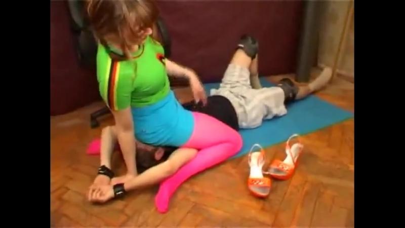 Facesitt Russian teen girl blue short and pink pantyhose