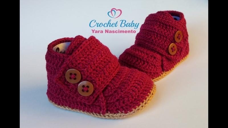 Sapatinho BERNARDO de Crochê - Tamanho 09 cm - Crochet Baby Yara Nascimento