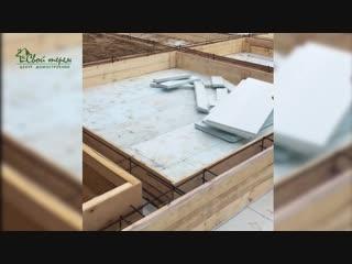 Монолитная плита. Утепленная плита с ребрами жесткости с системой водяного тёплого пола и кирпичным кессоном. Свой Терем.