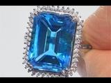 Certified Neon Blue Color Natural VVS London Blue Topaz &amp Diamond Estate 14k Gold Ring - C111