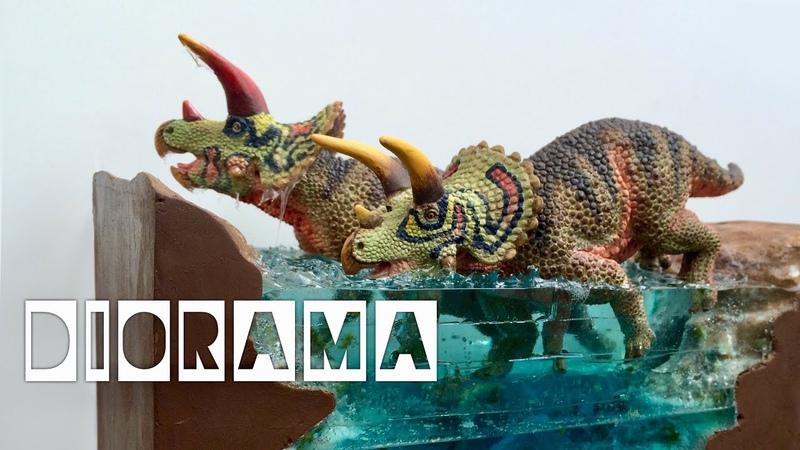 DIY Resin Water River Diorama featuring Safari Ltd.'s Triceratops!