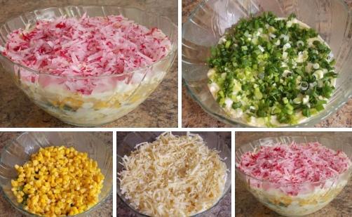 Овощной салат с сыром и яйцом