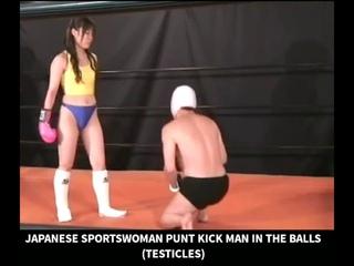 Girl kicks in the man balls