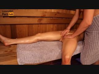 Oil massage in sauna, young girl twice got orgasm