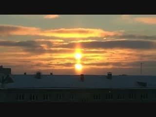 Редкое природное явление в Рыбинске - два солнца!