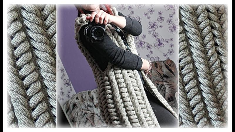 Жилет спицами из азиатских колосков Удлинённый жилет Шиншилла вязаный спицами.