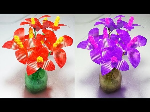 Empty Plastic bottle flower vase making craft water glass recycle craft ideas Best out of waste idea