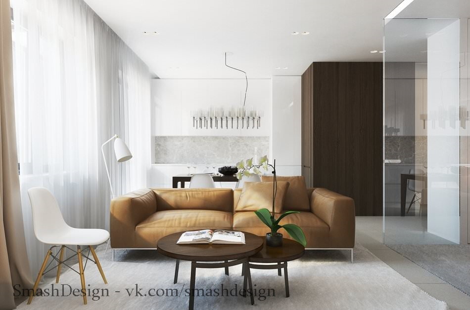 Дизайн небольшой квартиры со спальней за стеклом, площадь 38 кв.
