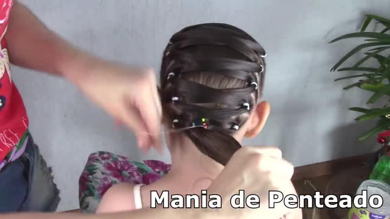 Penteado Infantil com ligas transpassadas e amarração