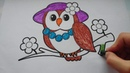 Веселая раскраска для детей   Сова   Сoloring book for kids  Owl   Lisa Play