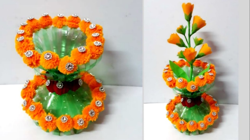 Flower vase Guldasta from plastic bottle Best out of waste diy Handmade Woolen Guldasta flower pot