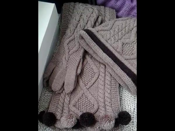 13 Комплект спицами шапка шарф и перчатки