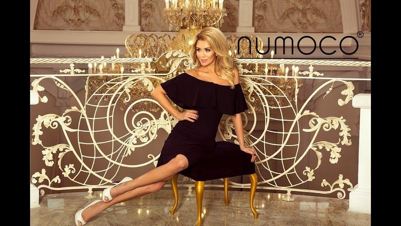 138-7 Sukienka hiszpanka - czarny matowy materiał - numoco - dress