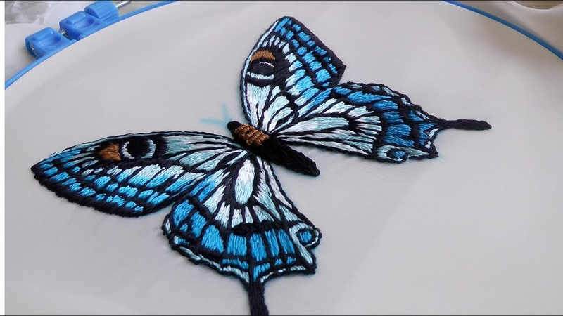 HAND EMBROIDERY BUTTERFLY🦋 | ВЫШИВКА БАБОЧКА🦋