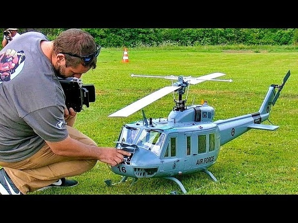 STUNNING BIG RC BELL UH-1D HUEY VARIO TURBINE SCALE MODEL HELICOPTER FLIGHT DEMONSTRATION