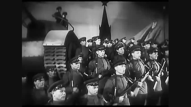 А.А. Александров дирижирует исполнением песни Несокрушимая и легендарная. 23 февраля 1943 года.