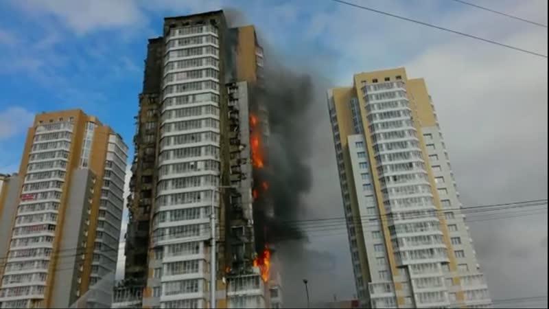Пожар в высотке на Шахтеров. Красноярск 21.09.2014