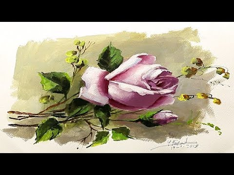 Painting Single Rose By yasser Fayad Oil On Paper