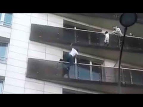 Inmigrante ilegal salva a un niño escalando 4 plantas en 30 segundos