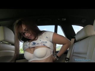 Naughty girl with glasses takes dick in public