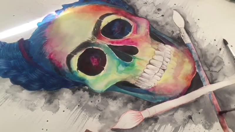 Watercolor Portrait SPEED PAINTING _ Frida Kahlo skull