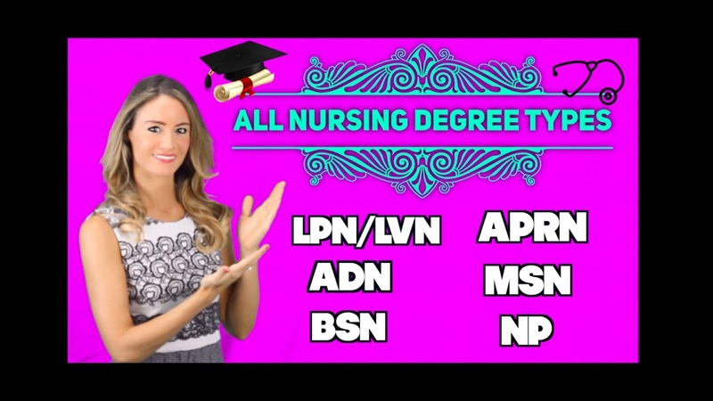 All Nursing Degree Types LPN LVN ADN BSN APRN MSN NP