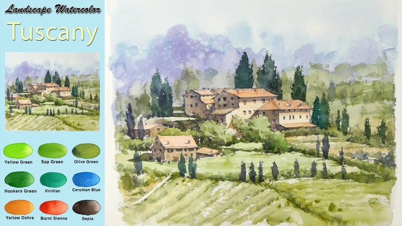 Drawing Landscape Watercolor- Toscany : Italy (wet-in-wet, fabriano rough) NAMIL ART