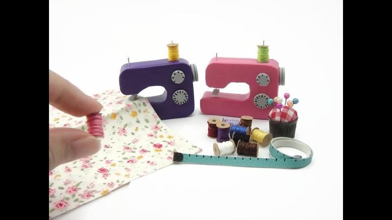DIY Miniatures Mini Sewing Machine - mini thread, pin cushion, measuring tape - No polymer clay!