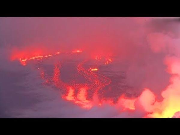 Вулкан гавайи извержение килауэа - возникла новая река лавы , поток трещин становится непредсказуем