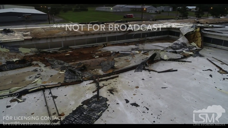5 18 19 Fort Smith, AR Tornado Damage Aerials Roofs Removed Truck Crushed Lightning